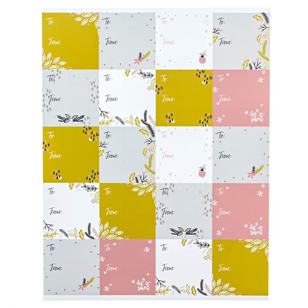 to and from Grey, Mustard and Pink Christmas Gift Tags / 100 Holiday Gift Tags