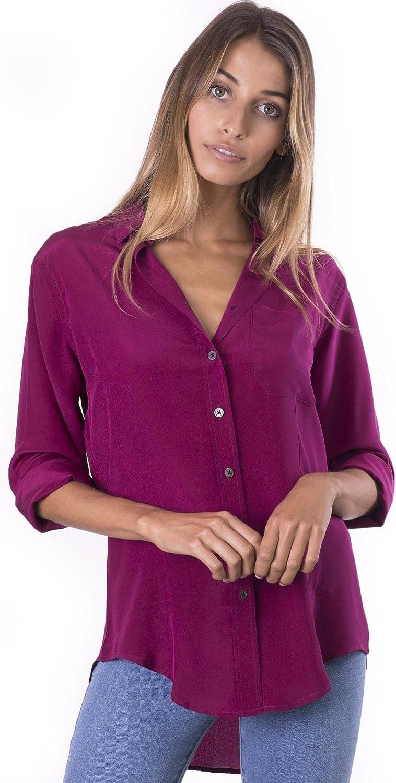 CAMIXA Womens 100% Silk Blouse Long Sleeve Ladies Shirts Slimfit Button Up Pure