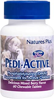 NaturesPlus Pedi-Active LECI-PS, DMAE Complex - 60 Chewable Tablets - Mixed Berry Flavor - Childrens Chewable Supplement, ...