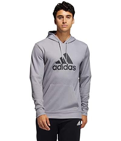 adidas Back to School Badge of Sport Hoodie (Medium Grey Heather/Black) Men