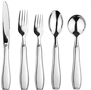 Linelax Weighted Utensils for Tremors and Parkinsons - 5 Piece Heavy Weight Steel Silverware Set of Knife, 2 Forks, Teaspoon and Soup Spoon - Adaptive Eating Flatware Helps Hand Tremor, Parkinson