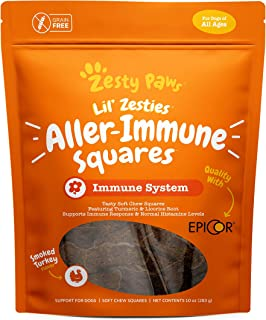 Zesty Paws Aller-Immune Soft Chew Squares for Dogs - with Turmeric, Licorice Root & Premium EpiCor Fiber - Dog Supplements...