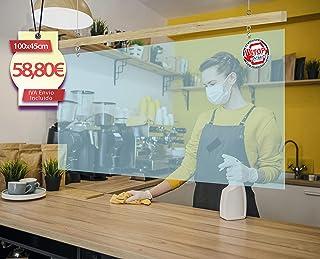 Mampara de metacrilato para Techo. 100x45cm Ideal para Barras de Bar, supermercados.
