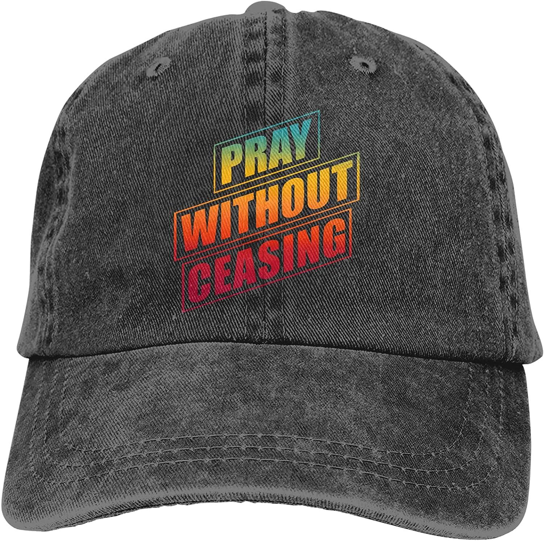 Christian-Sayings Pray Without Ceasing Baseball Cap for Men Women Unisex Dad Hats Trucker Hat Hunting Fishing Outdoor Sun Visor Cap Adjustable Black