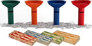 Easy Wrap Coin Stacking Tubes with 252 Coin Wrappers - Funnel Shaped Color-Coded Coin Roll Sorting Tubes