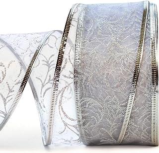 Wire Edged Ribbon White/Silver Sheer Organza Ribbon Metallic Wired Trim & Glitter Decorative 50 Yards x 2.5 inch Wide 1 Ro...