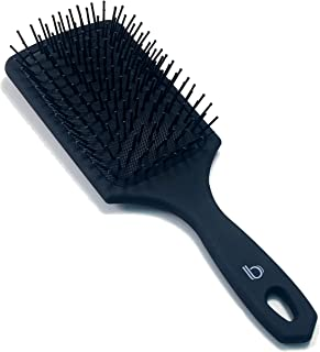 Large Square Paddle Brush by Better Beauty Products, Detangling Brush with Long Handle and Scalp Massage Bristles, One Piece Tips, Professional Salon Brush, Black