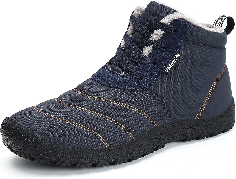 Voovix Women's Snow Boots Winter Warm Fur Lined Ankle Booties Lightweight Waterproof Non Slip Outdoor shoes(Navy,EU36)