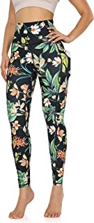 ODODOS Women's High Waisted Pattern Yoga Leggings with Pockets, Workout Sports Running Athletic Printed Yoga Pants