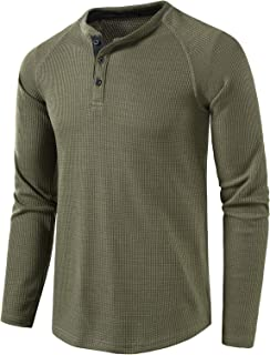 Men's Casual Crew Neck Long Sleeve T Shirts of Waffle Henley