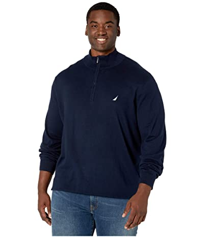 Nautica Big & Tall Big Tall 1/4 Zip Navtech Mock Neck Sweater (Navy) Men