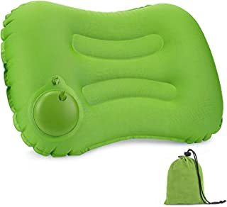 エアーピロー キャンプ まくら 手動プレス式 キャンプ枕 空気枕 旅行用枕 軽量 携帯用 事務室 車中泊 アウトドア用 収納袋付き 1年間保証