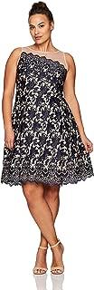 London Times Women's Plus Size Lace Fit & Flare Dress w. Illusion Neckline