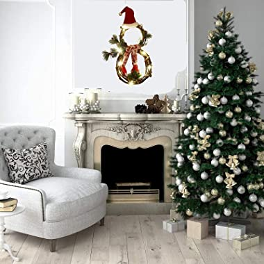 Christmas Wreath Decorations,LED Lights Snowman Rattan Circle Garland Wall Ornament,Holiday Decoration for Fall Winter Xmas T