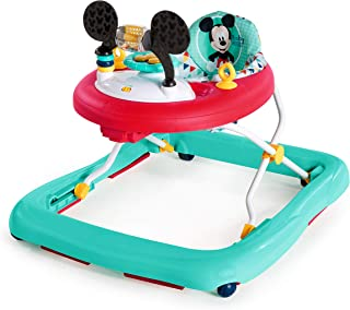 Mickey Mouse Happy Triangles Baby Boy Folded Walker with Wheels Activity, Entertainment, and Learning Center, Adjustable to 3 Height Position with Removable Lights and Sounds Toy Station