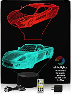 Night Light for Kids - Premium 3D Illusion Night Light Set - 2 Amazing Sports Car Designs in 1 Box - 7 Color with USB Cable and Mains Plug and Remote with Dimmer - Does Not Get Hot by rainbolights