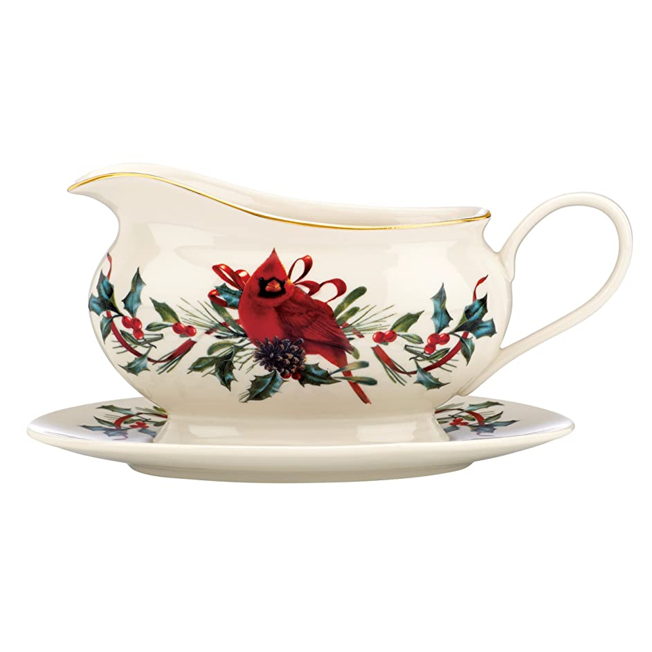 Winter Greetings Entertaining Gravy Boat & Stand
