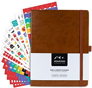 $39 » Mountain Daily Planner Pro + Stickers Combo – Large Undated Daily, Weekly Gratitude Journal, Calendar. Track Productivity,...
