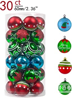 Valery Madelyn 30ct 60mm Delightful Elf Shatterproof Christmas Ball Ornaments Decoration, Themed with Tree Skirt (Not Included)