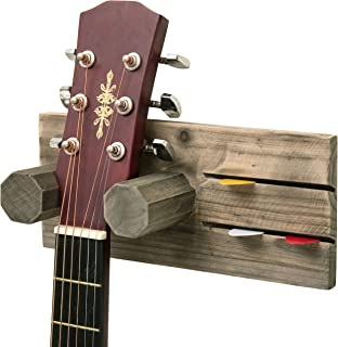 MyGift Wall-Mounted Vintage Gray Wood Guitar Hanging Rack with Pick Holder