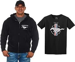 JH Design Ford Mustang Zip-up Hoodie & Mustang T-Shirt Combo Gift Set for Men