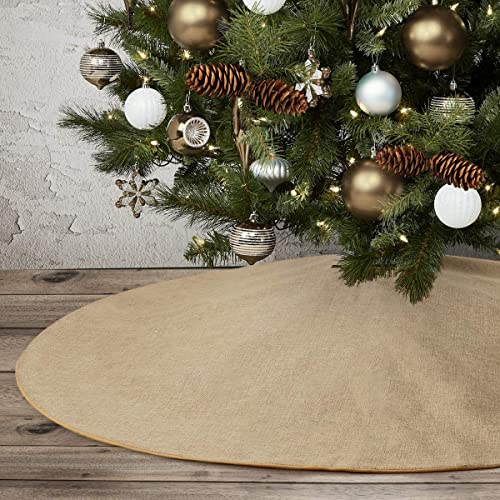 """Burlap Christmas Tree Skirt,48"""" Rustic Double Layers Xmas Tree Decorations for Farmhouse Party,Washable"""
