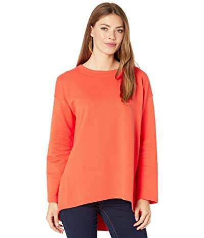 Eileen Fisher Crew Neck High-Low Hem Top (Marmalade) Women