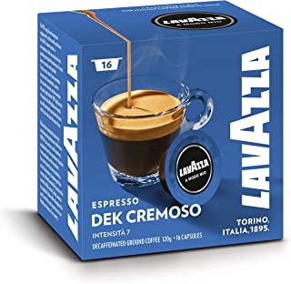 Lavazza A Modo Mio Café Espresso Cremoso Dek 100% Arabica, Décafféiné, Paquet de 16 capsules monodoses de café moulu