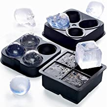Ice Cube Set 3 in 1 - NEW 2019 - Best Ice Balls Skull Cube Silicone Molds BPA FREE - Chocolate Candy 3D Trays