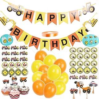 Construction Birthday Party Supplies, 1 Set Vehicle Happy Birthday Banner include Excavator Bulldozer Truck, 24 balloons, ...