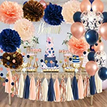 Navy Champagne Bridal Shower Decorations Qian's Party Navy Rose Gold Champagne Peach Glitter Gold Birthday Decorations Wedding/Navy Rose Gold Confetti Ballons/Rose Gold Bachelorette Party Decorations