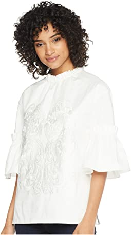 Glarina Large Ruffle Sleeve High Neck Top