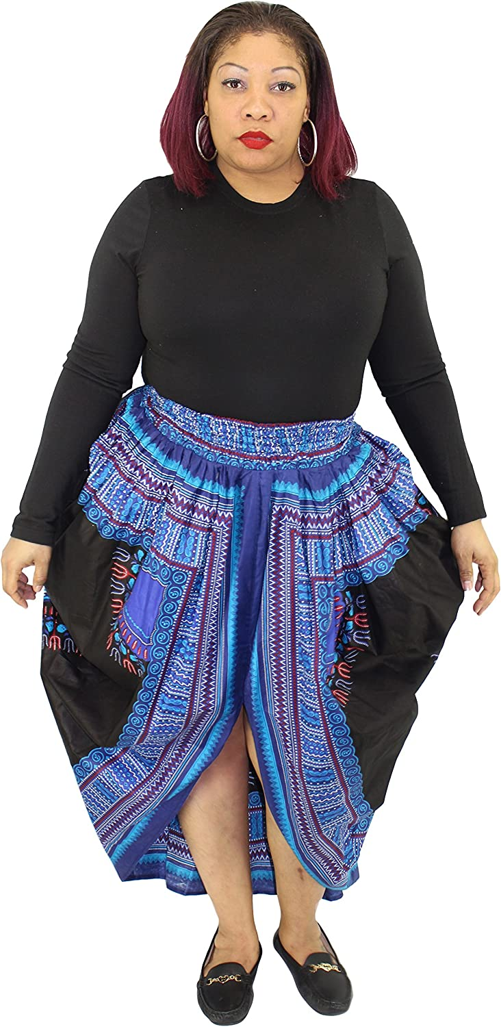 African Planet Women's Dashiki elastic waist balloon skirt