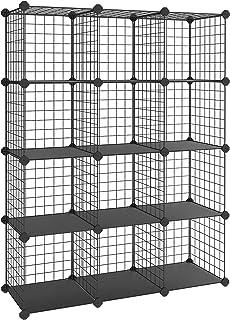 SONGMICS Armoire de Rangement, Étagère, Panneaux en Treillis, 4 Niveaux, 3 Rangs, Grande capacité, Maillet en Caoutchouc O...