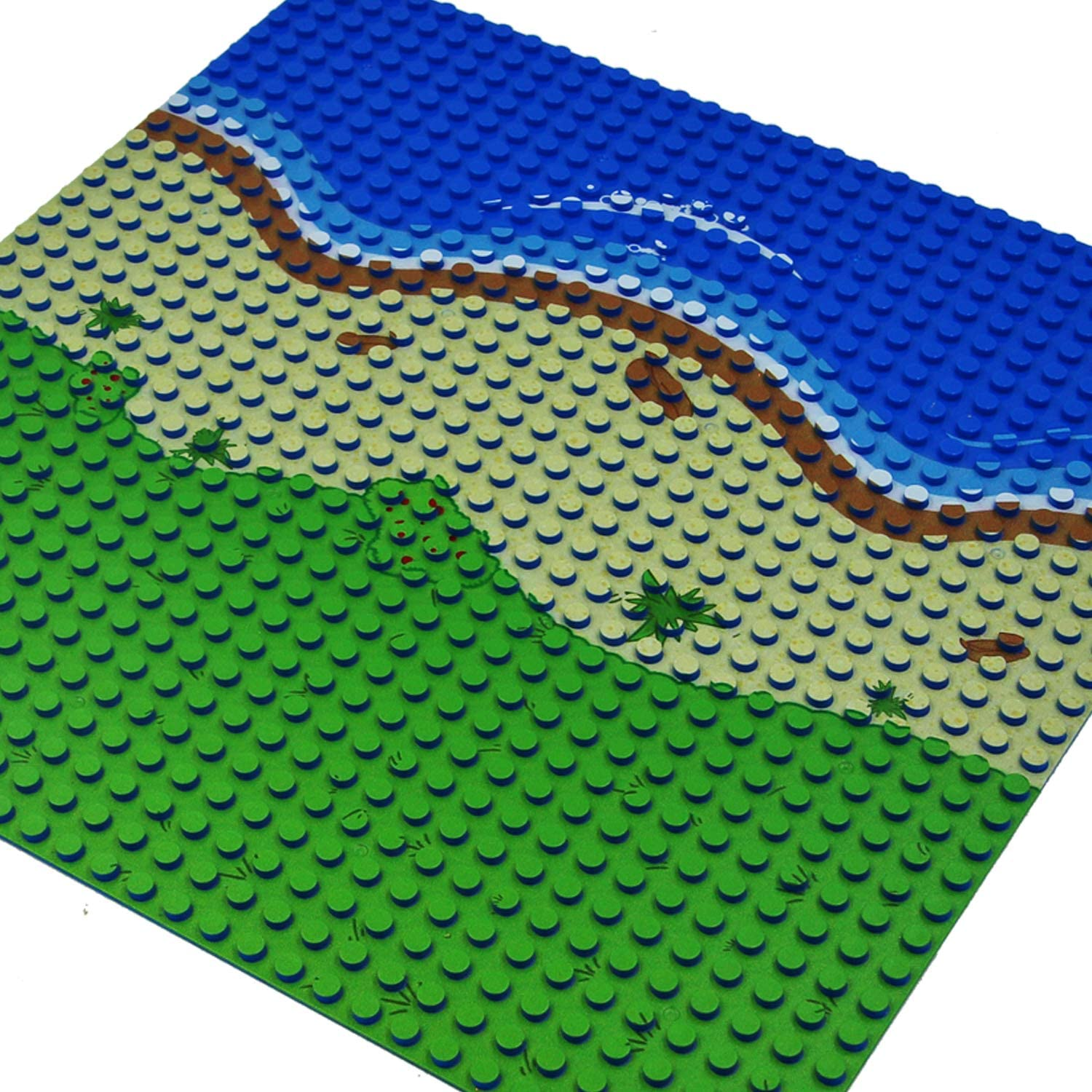 2 Straight + 1 Curve + 1 Grass Bases for Grass Oasis EKIND 4-Pack 10 x 10 Beach Base Brick Plate Compatible with All Major Brands Pirates Sea and More