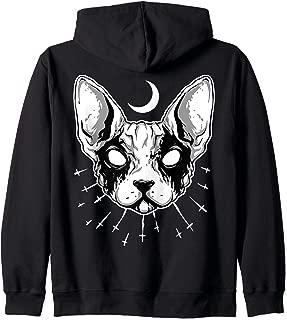 ROCKSTAR Evil Zombie Cat & Moon - Living Dead Kitty - Gothic Zip Hoodie