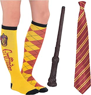 Party City Harry Potter Gryffindor Costume Accessories for Adults, Include a Tie, Knee Socks, and a Light-Up Magic Wand