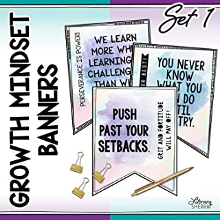 GROWTH MINDSET Banners for Middle School and High School, Decor, Bulletin Boards, : Set 1