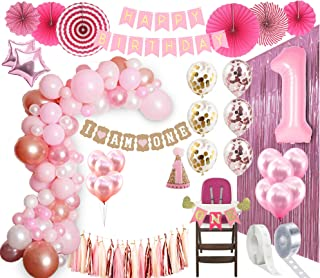 1st BIRTHDAY GIRL DECORATIONS| Balloon Arch Kit 1st Birthday Party Supplies| Rose Gold Party Decorations | Rose Gold Confetti Balloons | Happy First BDay Princess Decorations| First birthday pink