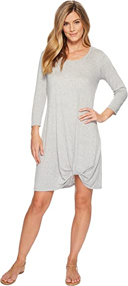 Soft Crinkle Jersey 3/4 Sleeve Twist Hem Dress