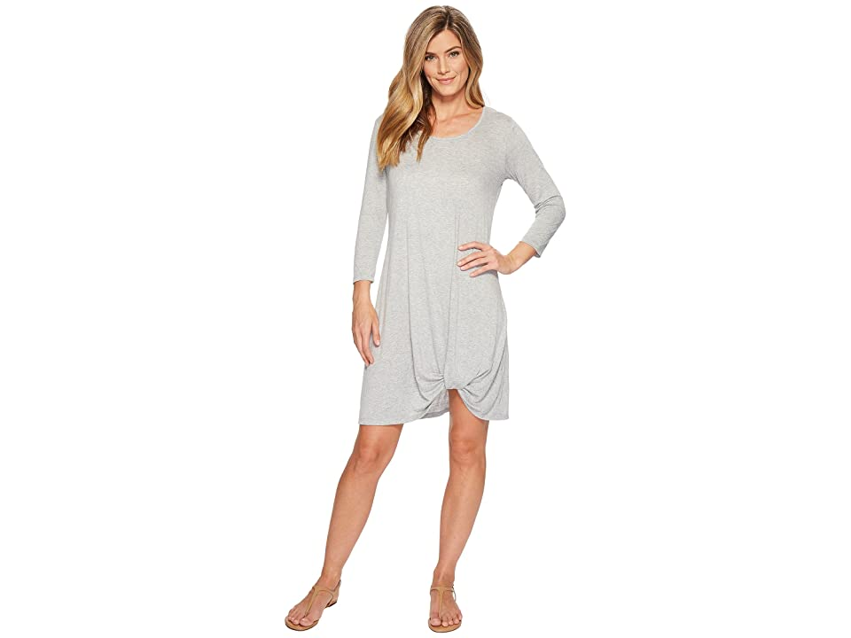 Mod-o-doc Soft Crinkle Jersey 3/4 Sleeve Twist Hem Dress (Heather Grey) Women