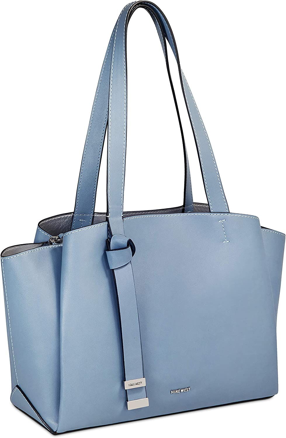 Nine West Women's Knotted Up Triple Compartment Nappa Satchel Chambray