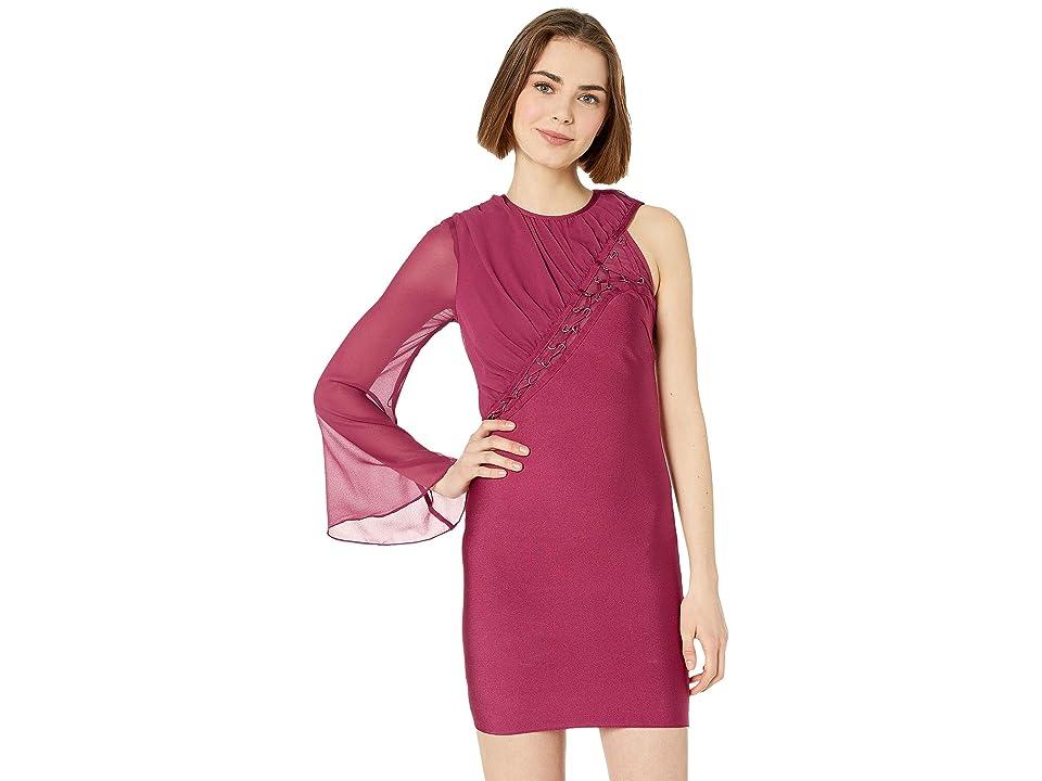 Bebe Lacing One Sleeve Bandage Dress (Rhubarb) Women