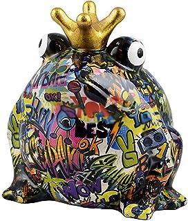 POMME-PIDOU dekoracyjna skarbonka żaba Freddy | L | ceramika | sztuka uliczna | wzór Brooklynu
