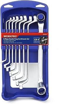 8-Piece WORKPRO Offset Box End Wrench Set w/ ABS Organizer Rack