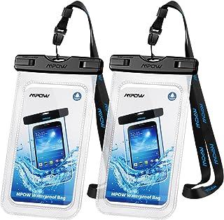 Mpow Funda Impermeable móvil, IPX8 Bolsa estanca móvil, ABS y Materiales de PVC para iPhone X/XS/8/7/Galaxy S10/S9/S8/S7/S7edge/P20/P10/P9 de hasta 6.5 in, Apto para Deportes acuáticos [2 Unidades]