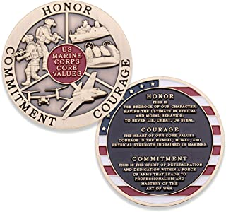 Marine Corps Core Values Challenge Coin - USMC Challenge Coin - Amazing US Marines Military Coin - Designed by Marines for Marines & Veterans!