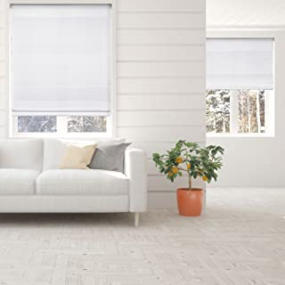 Calyx Interiors Cordless Lift Fabric Roman Shades in Size 31.5-Inch Width x 60-Inch Height Color Light Filtering White