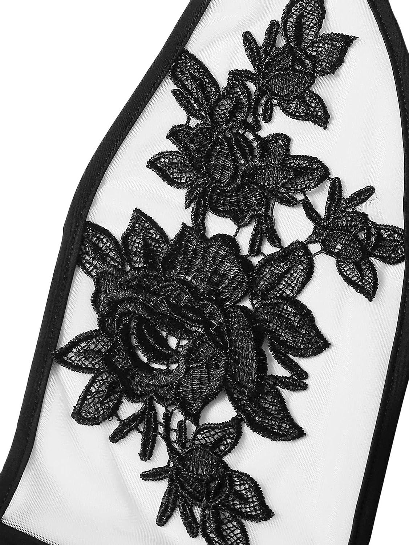 DIDK Womens 3D Rose Applique Backless Halter Bodysuit
