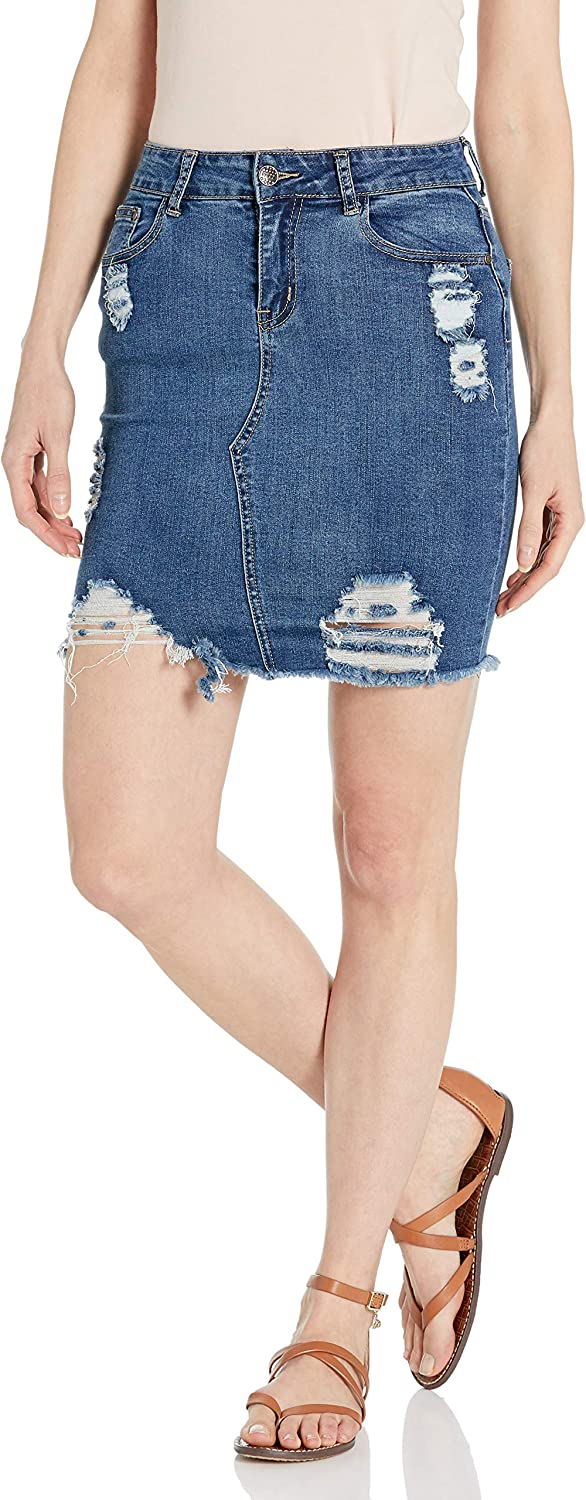 CG JEANS Women's Denim Skirt Fring Ripped Juniors for Ranking TOP11 online shopping Distressed